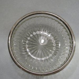 Vtg Lead Crystal Cut Glass Bowl Silver Trim